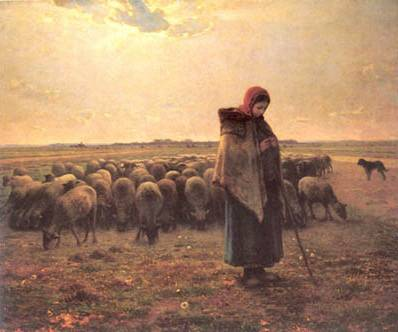 Shepherdess with her Sheep Jean Francios Millet