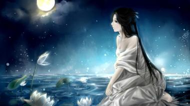 girls-night-moon-water-lily-painting-beautiful-mood