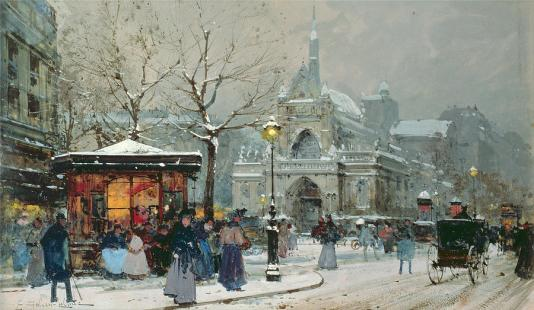 snow-scene-in-paris-eugene-galien-laloue